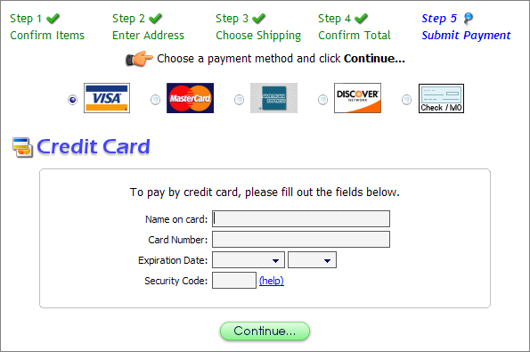 credit card info form