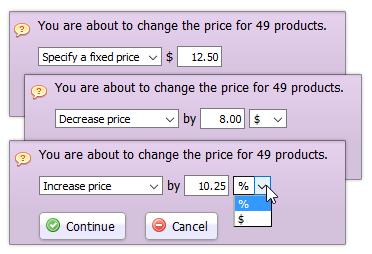 Bulk price change tool