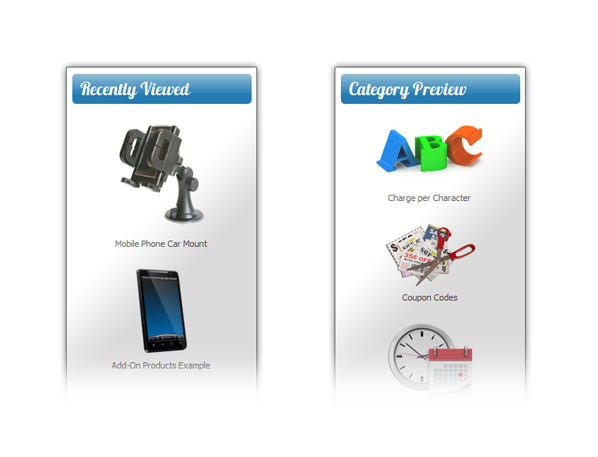 Recently viewed items and category preview nav blocks